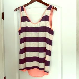 Scoop Neck Striped Tank with Open Back